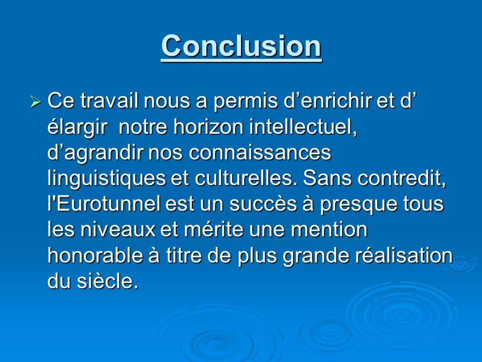 Conclusion Ce travail nous a permis denrichir et d élargir notre horizon intellectuel, dagrandir nos connaissances linguistiques et culturelles. Sans