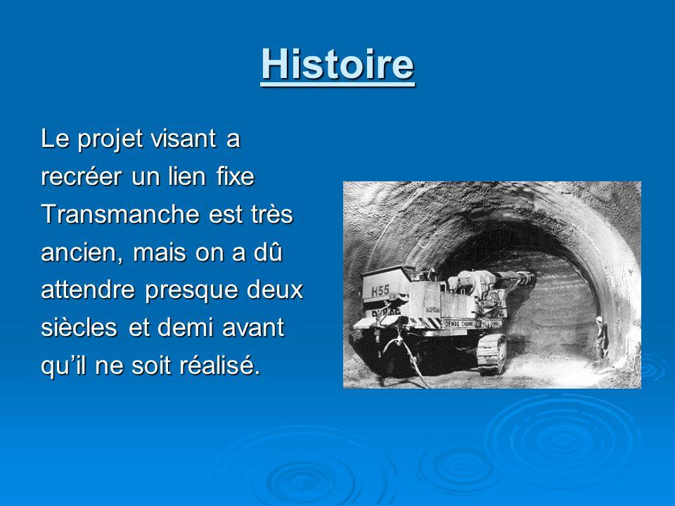 Histoire Le projet visant a recréer un lien fixe Transmanche est très ancien, mais on a dû attendre presque deux siècles et demi avant quil ne soit ré