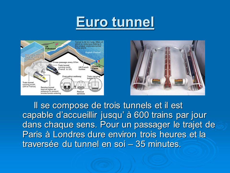 Euro tunnel Il se compose de trois tunnels et il est capable daccueillir jusqu à 600 trains par jour dans chaque sens. Pour un passager le trajet de P