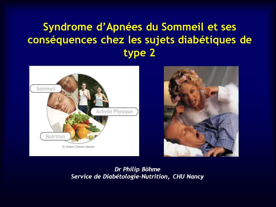 Syndrome dApnées du Sommeil et ses conséquences chez les sujets diabétiques de type 2 Dr Philip Böhme Service de Diabétologie-Nutrition, CHU Nancy