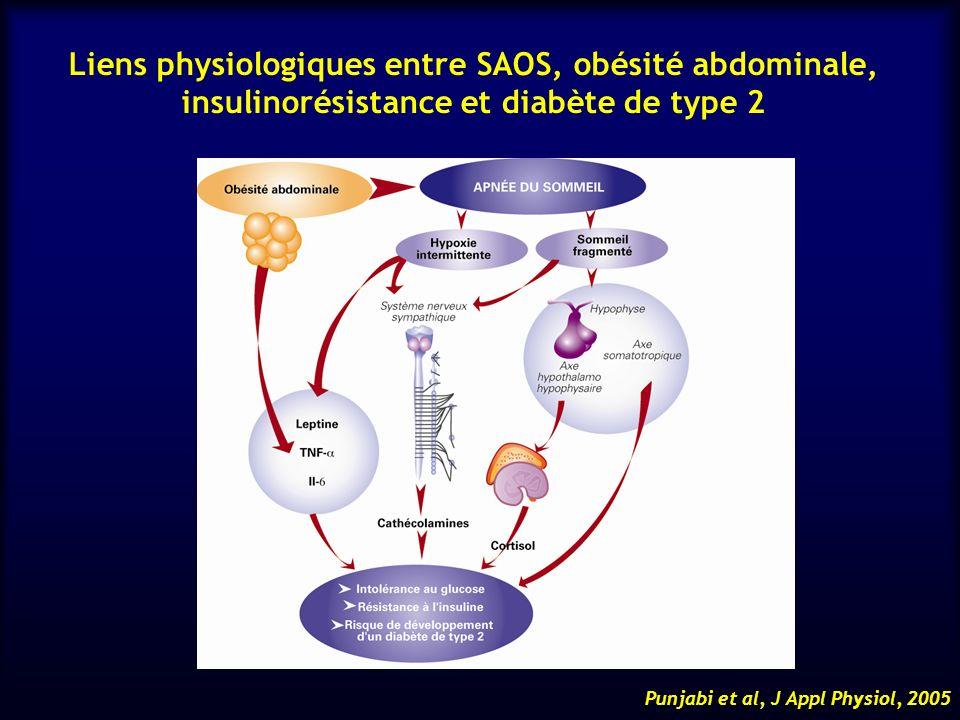 Liens physiologiques entre SAOS, obésité abdominale, insulinorésistance et diabète de type 2 Punjabi et al, J Appl Physiol, 2005