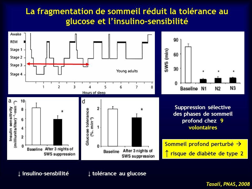 Tasali, PNAS, 2008 La fragmentation de sommeil réduit la tolérance au glucose et linsulino-sensibilité insulino-sensbilité tolérance au glucose Suppre