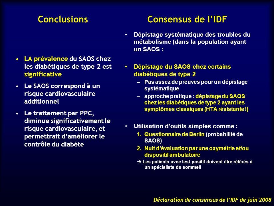 Conclusions Consensus de lIDF LA prévalence du SAOS chez les diabétiques de type 2 est significative Le SAOS correspond à un risque cardiovasculaire a