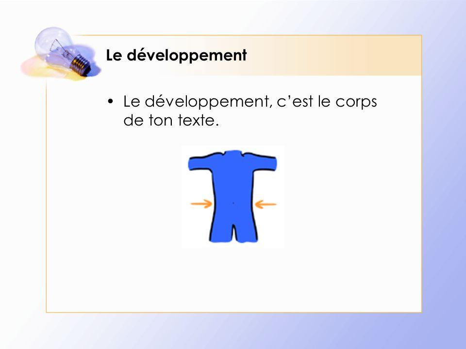 Le développement Le développement, cest le corps de ton texte.