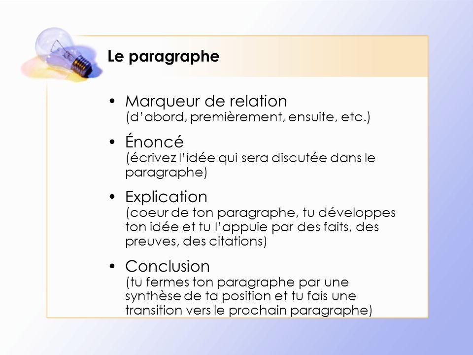 Le paragraphe Marqueur de relation (dabord, premièrement, ensuite, etc.) Énoncé (écrivez lidée qui sera discutée dans le paragraphe) Explication (coeu