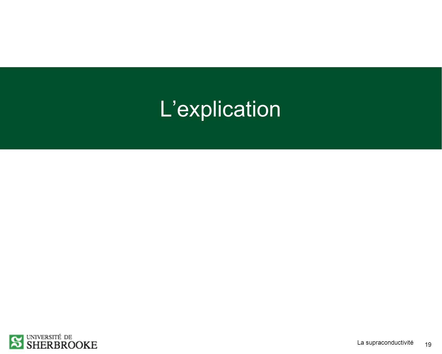 La supraconductivité 19 Lexplication
