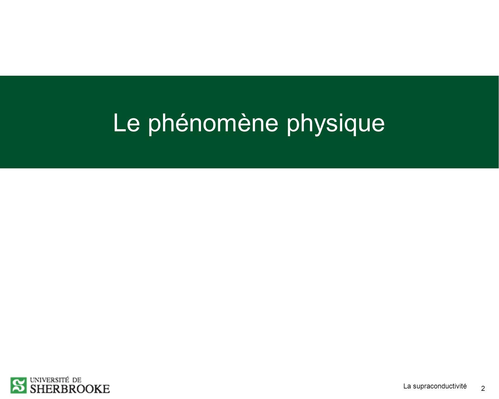 La supraconductivité 2 Le phénomène physique