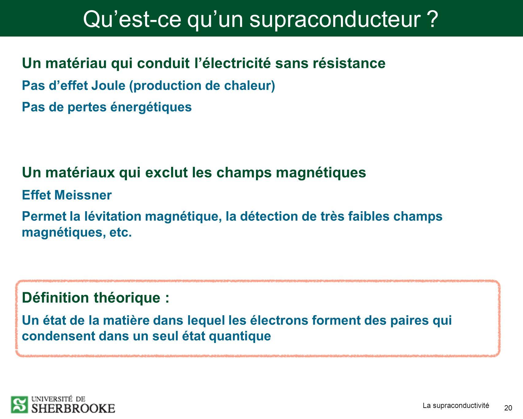 La supraconductivité 20 Quest-ce quun supraconducteur ? Un matériau qui conduit lélectricité sans résistance Pas deffet Joule (production de chaleur)