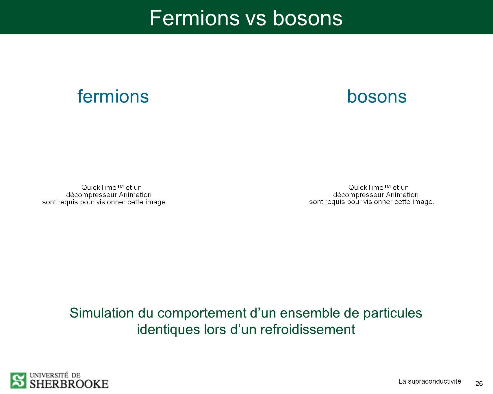 La supraconductivité 26 Fermions vs bosons fermionsbosons Simulation du comportement dun ensemble de particules identiques lors dun refroidissement