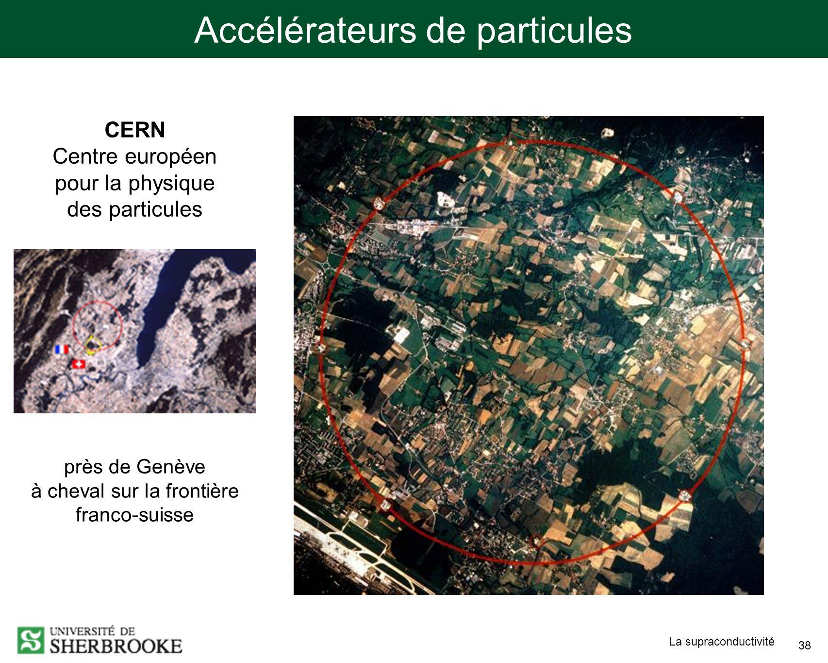 La supraconductivité 38 près de Genève à cheval sur la frontière franco-suisse CERN Centre européen pour la physique des particules Accélérateurs de particules