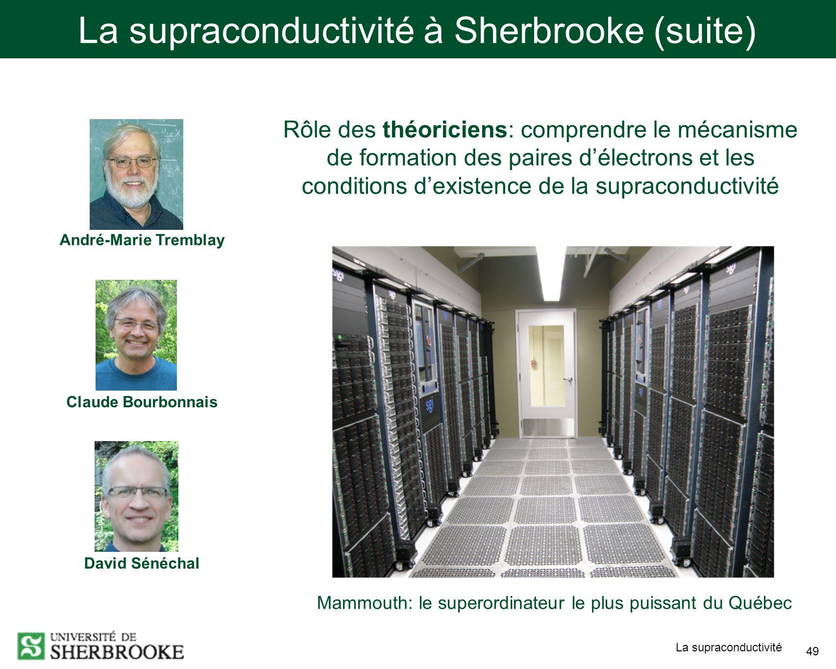 La supraconductivité 49 La supraconductivité à Sherbrooke (suite) André-Marie Tremblay Claude Bourbonnais David Sénéchal Rôle des théoriciens: comprendre le mécanisme de formation des paires délectrons et les conditions dexistence de la supraconductivité Mammouth: le superordinateur le plus puissant du Québec