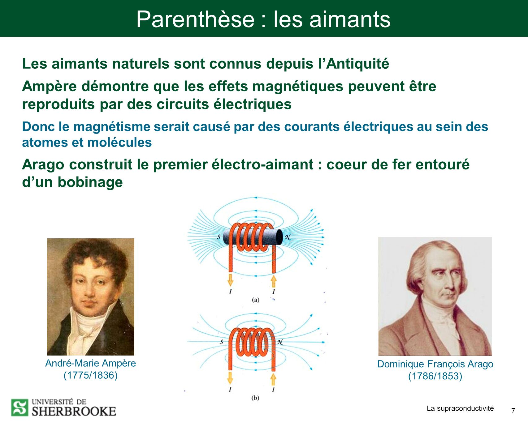 La supraconductivité 7 Parenthèse : les aimants Les aimants naturels sont connus depuis lAntiquité Ampère démontre que les effets magnétiques peuvent être reproduits par des circuits électriques Donc le magnétisme serait causé par des courants électriques au sein des atomes et molécules Arago construit le premier électro-aimant : coeur de fer entouré dun bobinage Dominique François Arago (1786/1853) André-Marie Ampère (1775/1836)