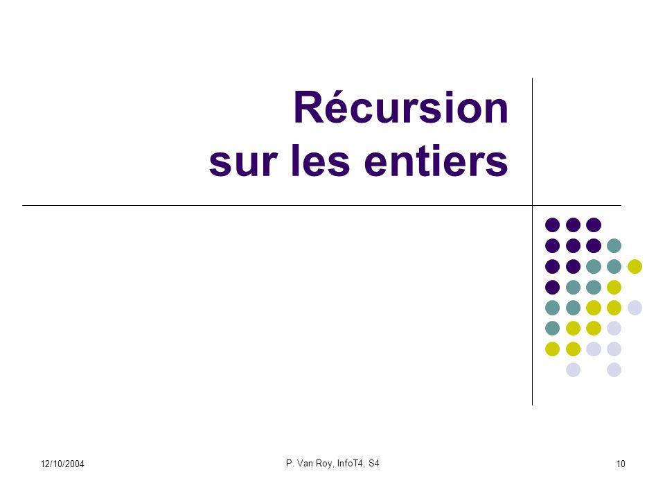 12/10/2004 P. Van Roy, InfoT4, S4 10 Récursion sur les entiers