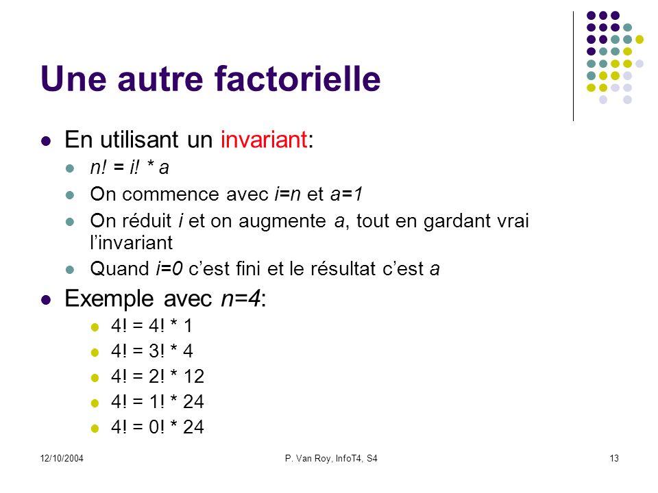 12/10/2004P. Van Roy, InfoT4, S413 Une autre factorielle En utilisant un invariant: n.