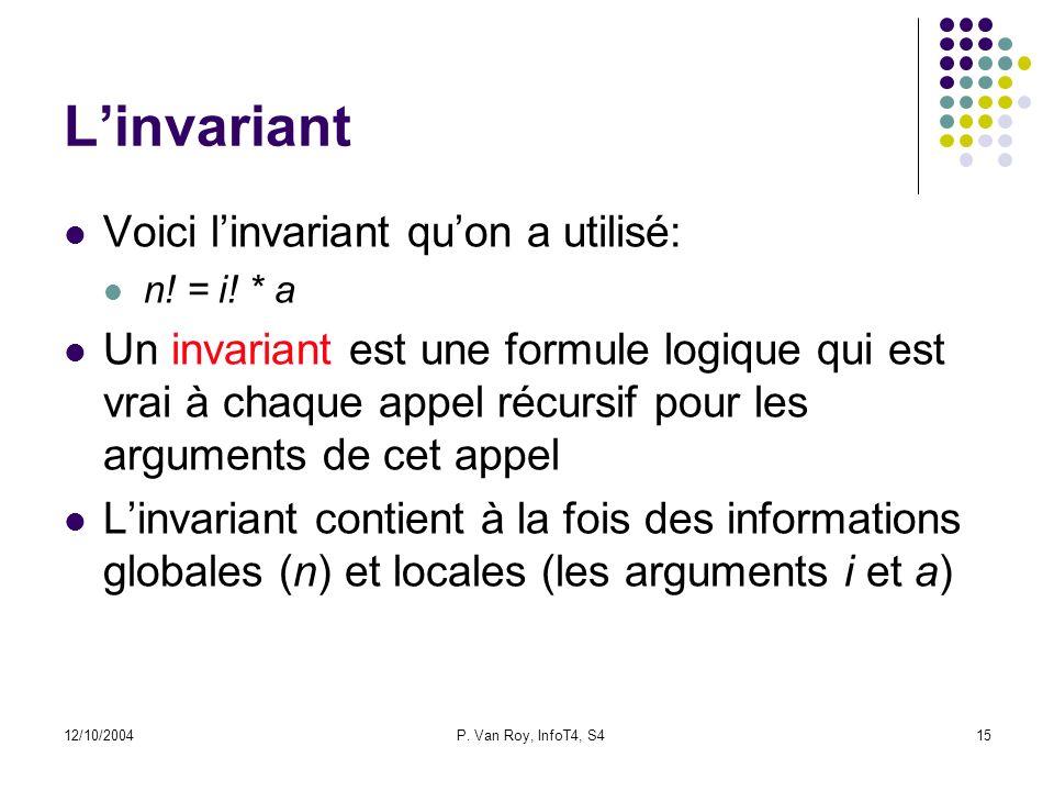 12/10/2004P. Van Roy, InfoT4, S415 Linvariant Voici linvariant quon a utilisé: n.