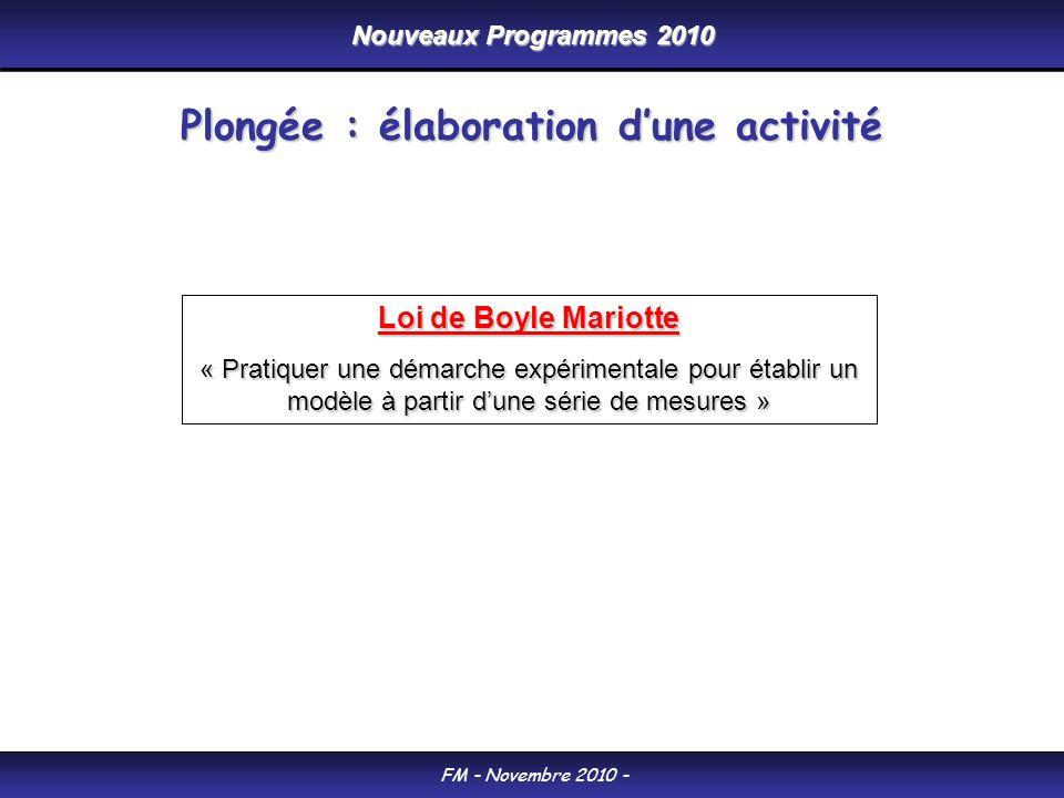 Nouveaux Programmes 2010 FM - Novembre 2010 - Loi de Boyle Mariotte « Pratiquer une démarche expérimentale pour établir un modèle à partir dune série de mesures » Plongée : élaboration dune activité