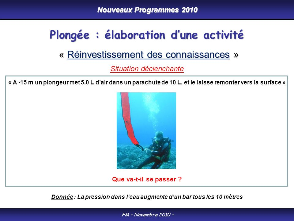 Nouveaux Programmes 2010 FM - Novembre 2010 - « A -15 m un plongeur met 5.0 L dair dans un parachute de 10 L, et le laisse remonter vers la surface » Que va-t-il se passer .