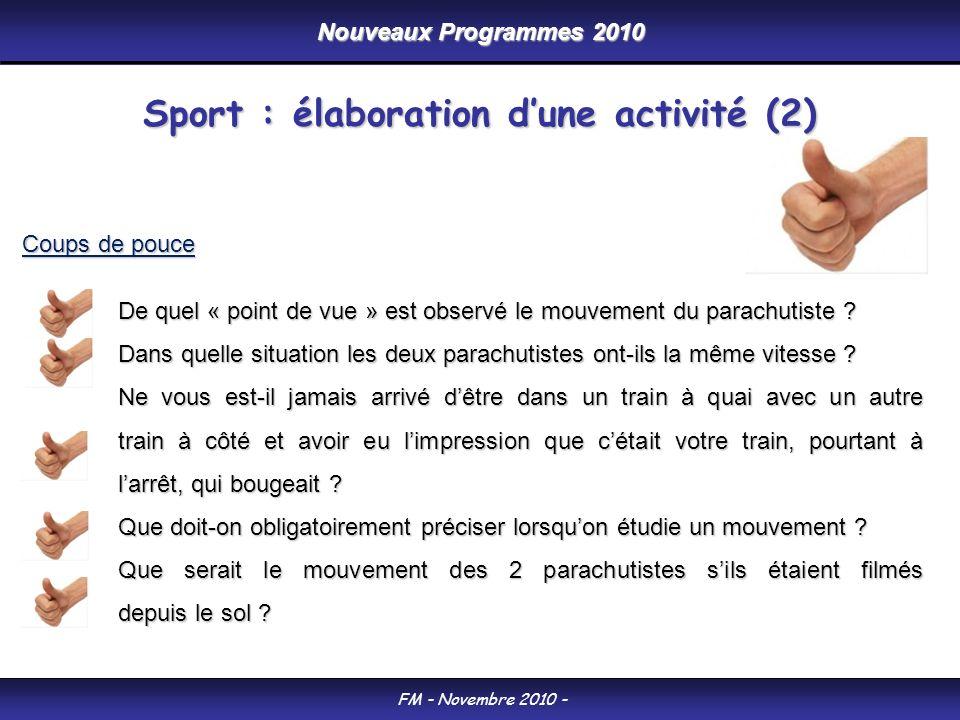 Nouveaux Programmes 2010 FM - Novembre 2010 - Coups de pouce De quel « point de vue » est observé le mouvement du parachutiste .