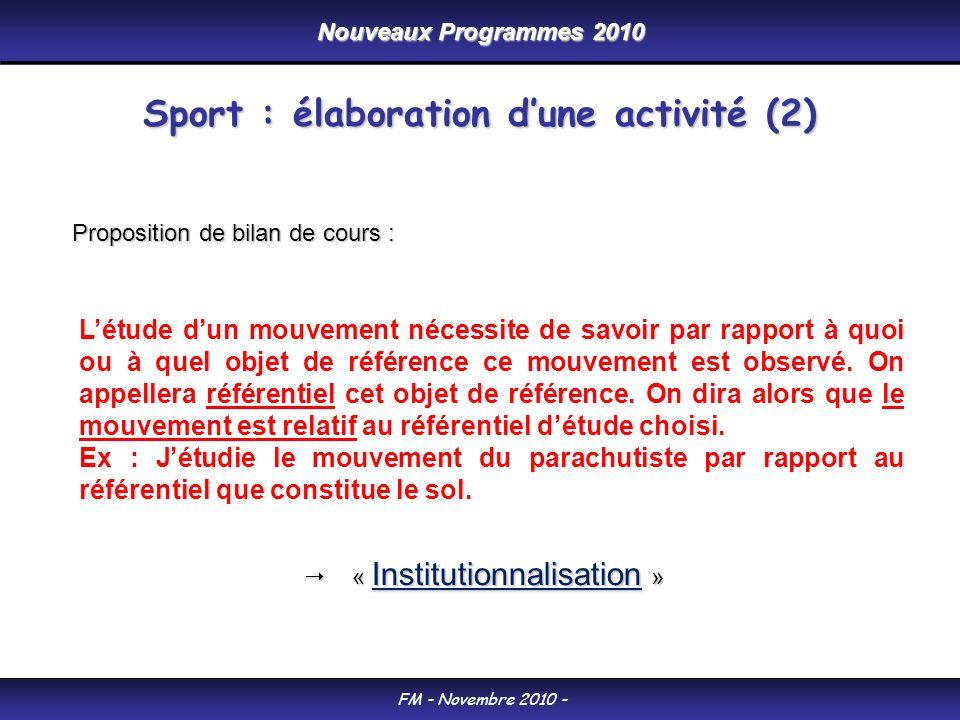 Nouveaux Programmes 2010 FM - Novembre 2010 - Létude dun mouvement nécessite de savoir par rapport à quoi ou à quel objet de référence ce mouvement est observé.