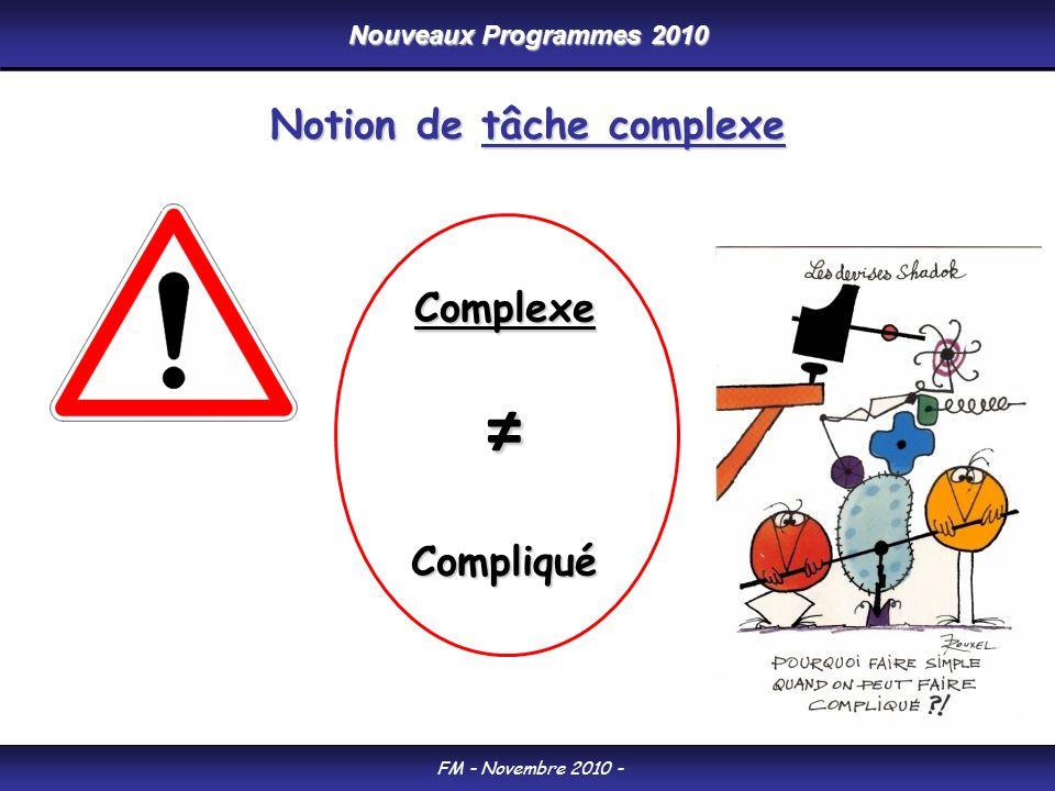 FM - Novembre 2010 - Notion de tâche complexe ComplexeCompliqué