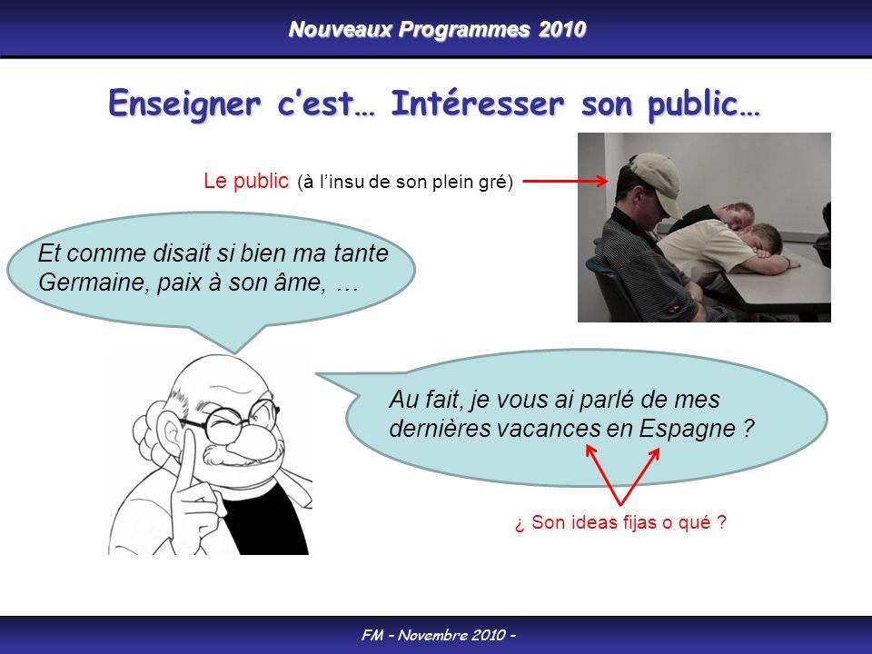 Nouveaux Programmes 2010 FM - Novembre 2010 - Enseigner cest… Intéresser son public… Au fait, je vous ai parlé de mes dernières vacances en Espagne .