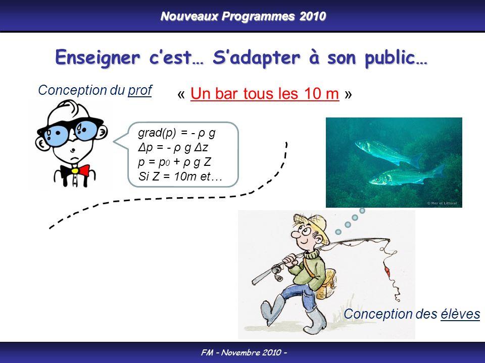 Nouveaux Programmes 2010 FM - Novembre 2010 - Enseigner cest… Sadapter à son public… « Un bar tous les 10 m » grad(p) = - ρ g Δp = - ρ g Δz p = p 0 + ρ g Z Si Z = 10m et… Conception des élèves Conception du prof