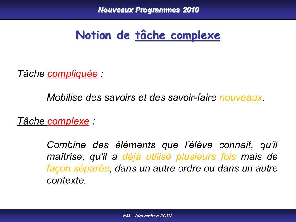 Nouveaux Programmes 2010 FM - Novembre 2010 - Tâche compliquée : Mobilise des savoirs et des savoir-faire nouveaux. Tâche complexe : Combine des éléme