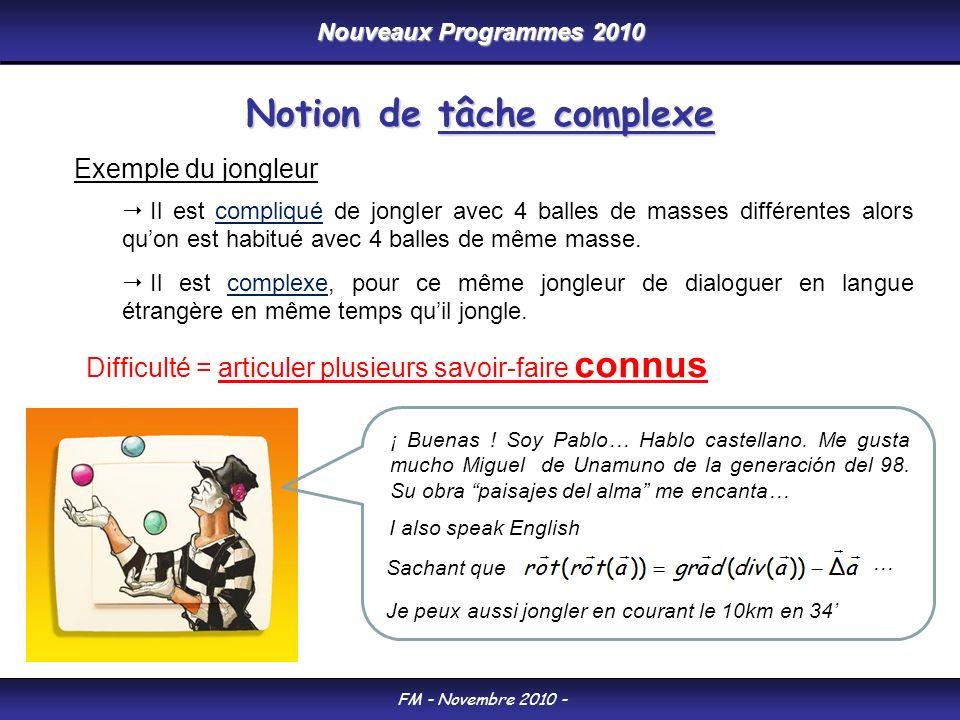 Nouveaux Programmes 2010 FM - Novembre 2010 - Notion de tâche complexe Exemple du jongleur Il est compliqué de jongler avec 4 balles de masses différe