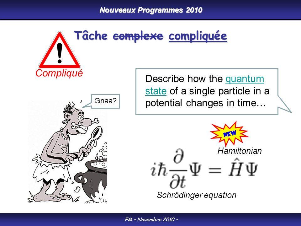 Nouveaux Programmes 2010 FM - Novembre 2010 - Tâche complexe compliquée Schrödinger equation Describe how the quantum state of a single particle in a potential changes in time…quantum state Hamiltonian Compliqué Gnaa?