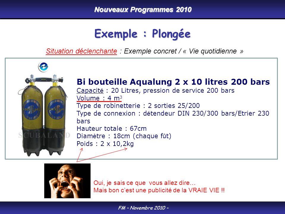 Nouveaux Programmes 2010 FM - Novembre 2010 - Exemple : Plongée Bi bouteille Aqualung 2 x 10 litres 200 bars Capacit é : 20 Litres, pression de servic