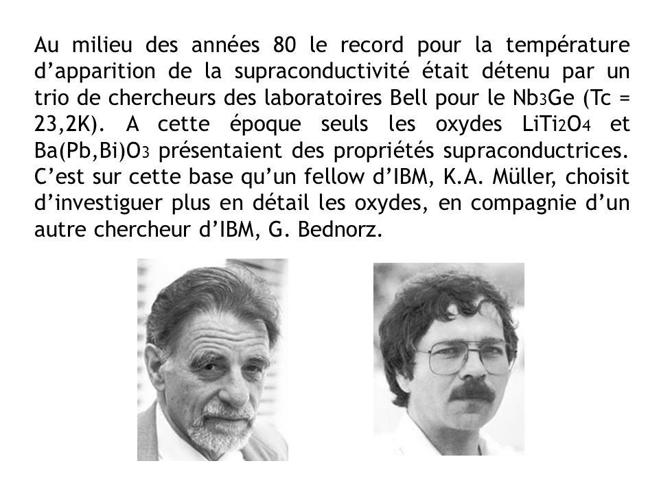 Au milieu des années 80 le record pour la température dapparition de la supraconductivité était détenu par un trio de chercheurs des laboratoires Bell