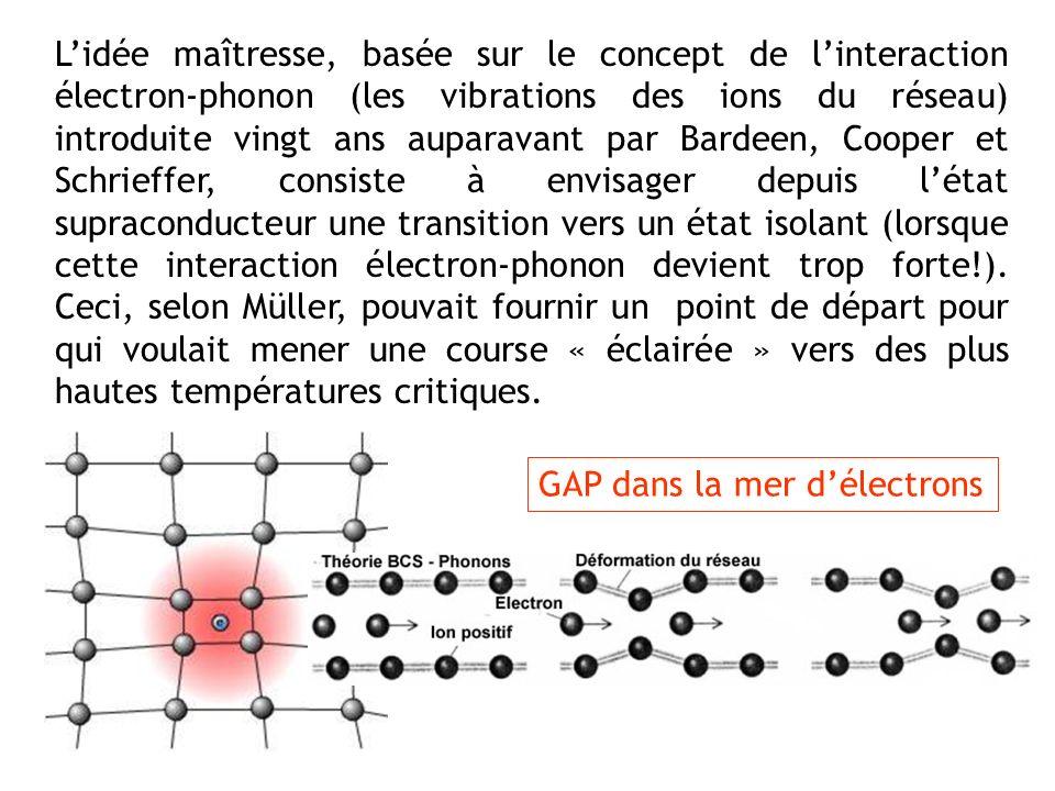 Lidée maîtresse, basée sur le concept de linteraction électron-phonon (les vibrations des ions du réseau) introduite vingt ans auparavant par Bardeen,