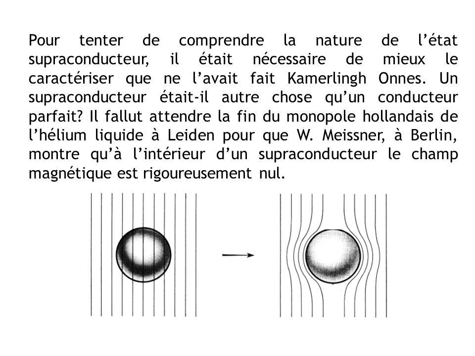 Pour tenter de comprendre la nature de létat supraconducteur, il était nécessaire de mieux le caractériser que ne lavait fait Kamerlingh Onnes. Un sup