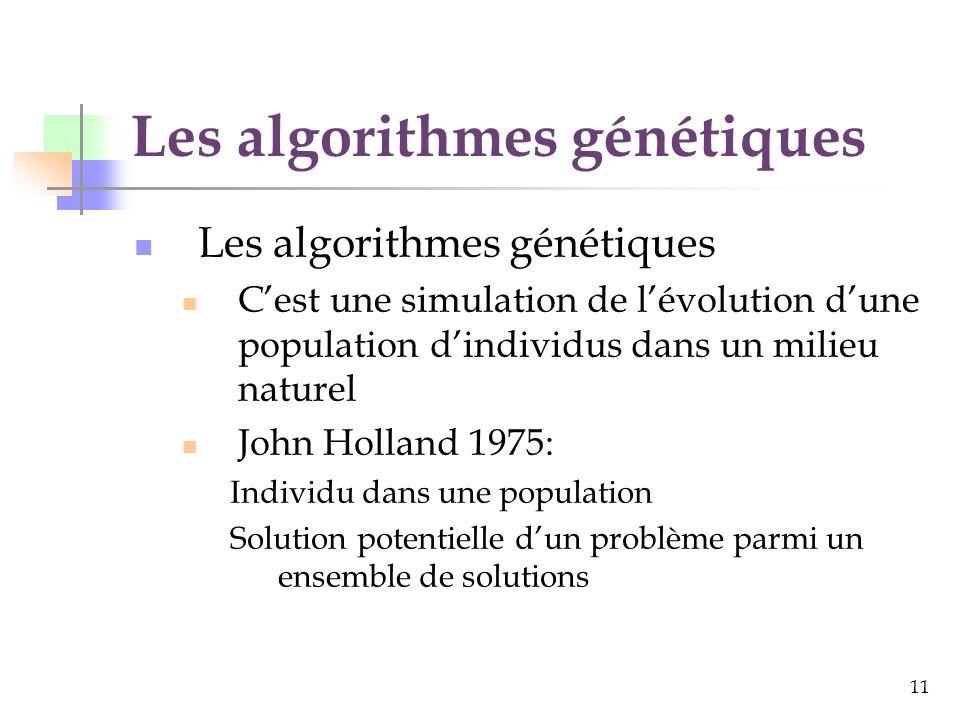 11 Les algorithmes génétiques Cest une simulation de lévolution dune population dindividus dans un milieu naturel John Holland 1975: Individu dans une population Solution potentielle dun problème parmi un ensemble de solutions