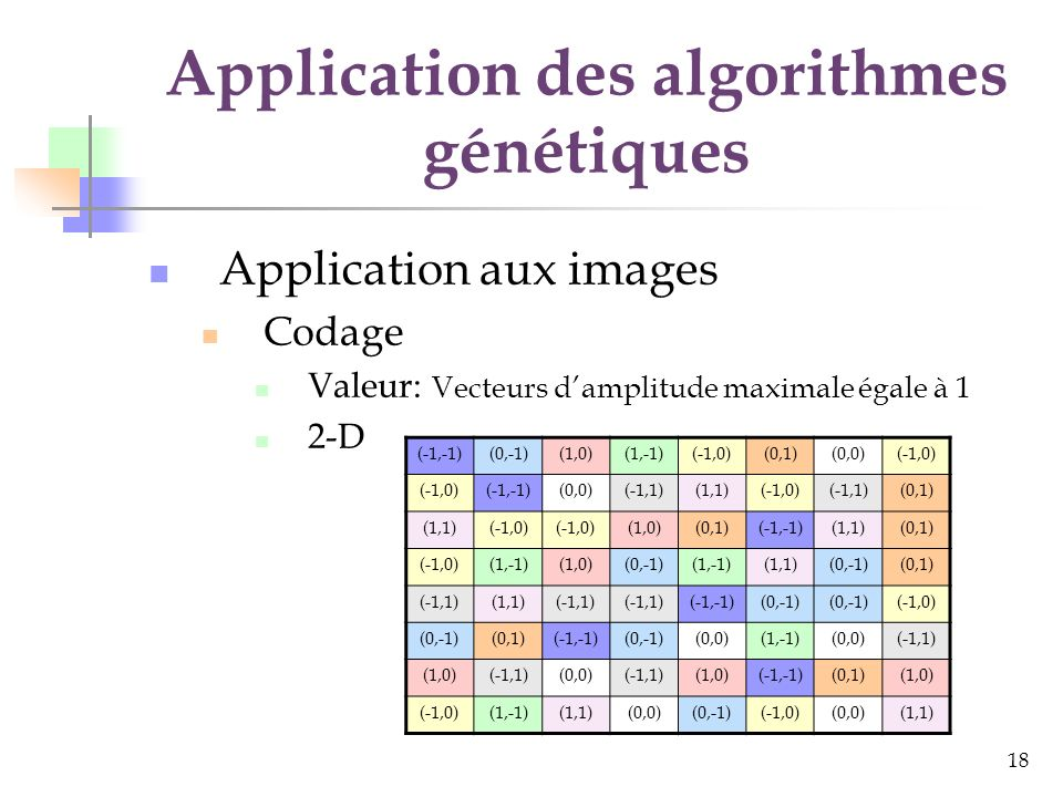 18 Application des algorithmes génétiques Application aux images Codage Valeur: Vecteurs damplitude maximale égale à 1 2-D (-1,-1)(0,-1)(1,0)(1,-1)(-1,0)(0,1)(0,0)(-1,0) (-1,-1)(0,0)(-1,1)(1,1)(-1,0)(-1,1)(0,1) (1,1)(-1,0) (1,0)(0,1)(-1,-1)(1,1)(0,1) (-1,0)(1,-1)(1,0)(0,-1)(1,-1)(1,1)(0,-1)(0,1) (-1,1)(1,1)(-1,1) (-1,-1)(0,-1) (-1,0) (0,-1)(0,1)(-1,-1)(0,-1)(0,0)(1,-1)(0,0)(-1,1) (1,0)(-1,1)(0,0)(-1,1)(1,0)(-1,-1)(0,1)(1,0) (-1,0)(1,-1)(1,1)(0,0)(0,-1)(-1,0)(0,0)(1,1)