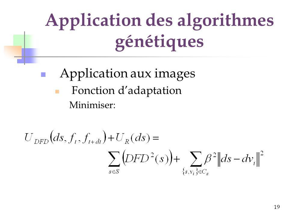 20 Application des algorithmes génétiques Application aux images Les opérateurs Sélection par tournoi à 2 ou à 8 Élitisme Tournoi à 8