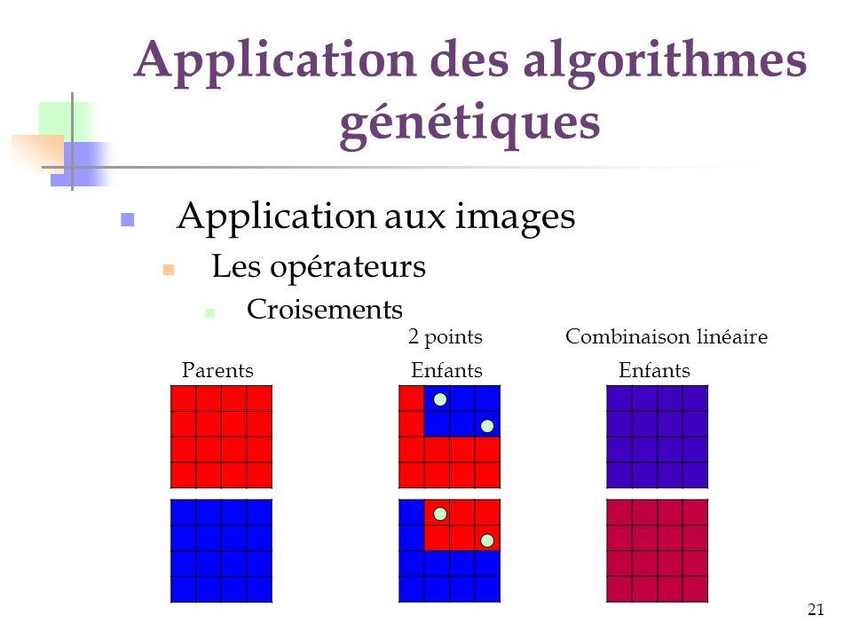 22 Application des algorithmes génétiques Application aux images Les opérateurs Mutations Petites variations Aléatoire Orientée Mutation par petite variation Individu Mutation aléatoire Mutation orientée ?