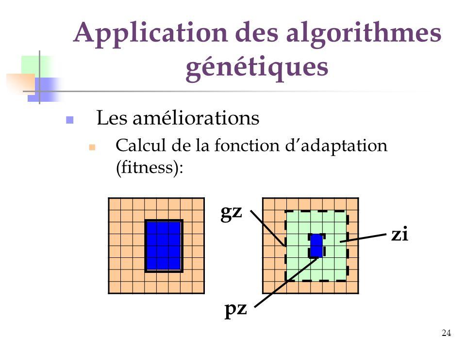 24 Application des algorithmes génétiques Les améliorations Calcul de la fonction dadaptation (fitness): gz pz zi