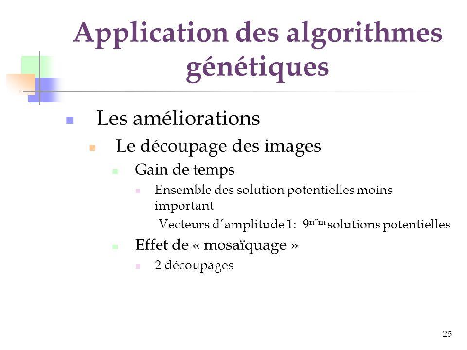 25 Application des algorithmes génétiques Les améliorations Le découpage des images Gain de temps Ensemble des solution potentielles moins important Vecteurs damplitude 1: 9 n*m solutions potentielles Effet de « mosaïquage » 2 découpages