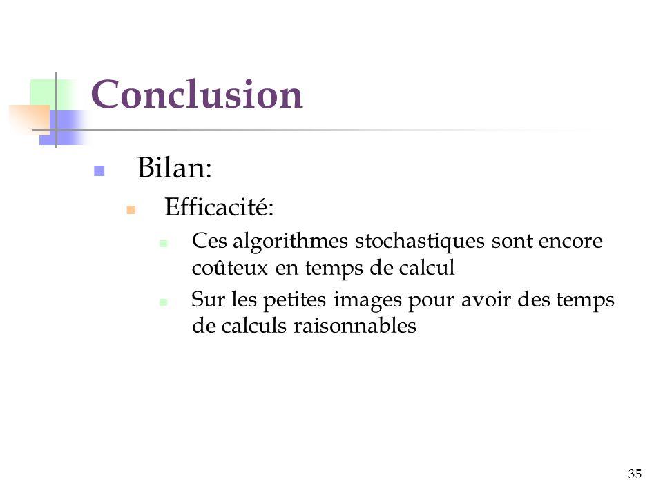 35 Conclusion Bilan: Efficacité: Ces algorithmes stochastiques sont encore coûteux en temps de calcul Sur les petites images pour avoir des temps de calculs raisonnables