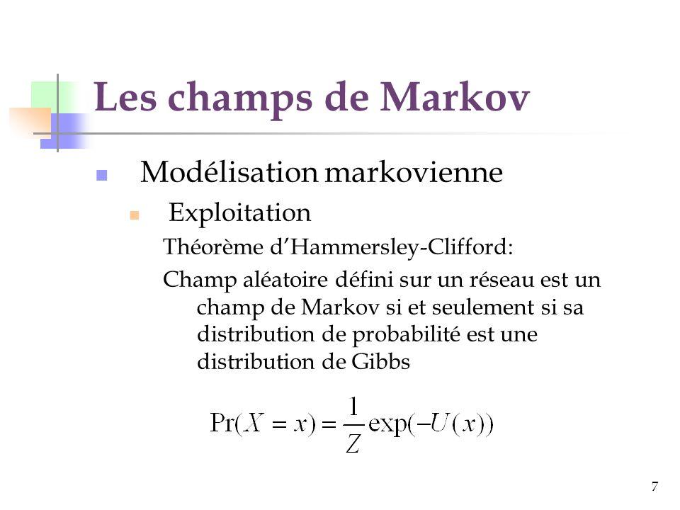 8 Les champs de Markov Modélisation markovienne Exploitation Notre problème: Trouver x qui explique « au mieux » y x étiquettes (vecteurs déplacement), y observations (deux images successives dune séquence) Bayes: Gibbs: