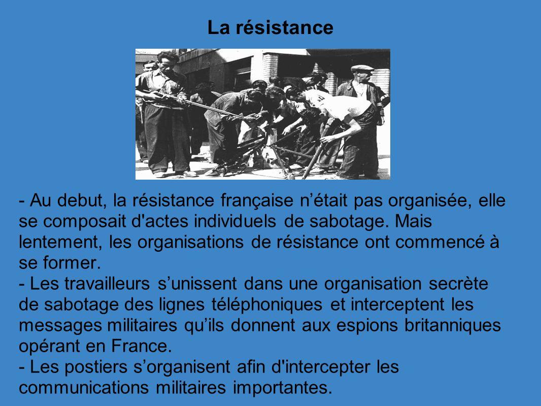 La résistance - Au debut, la résistance française nétait pas organisée, elle se composait d actes individuels de sabotage.