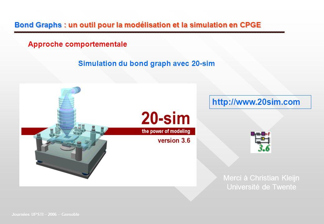 Bond Graphs : un outil pour la modélisation et la simulation en CPGE Journées UPSTI – 2006 – Grenoble Simulation du bond graph avec 20-sim Approche co