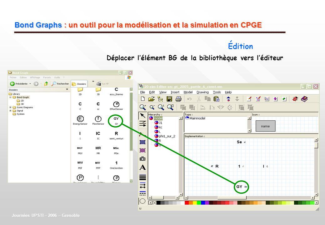 Bond Graphs : un outil pour la modélisation et la simulation en CPGE Journées UPSTI – 2006 – Grenoble Édition Déplacer lélément BG de la bibliothèque