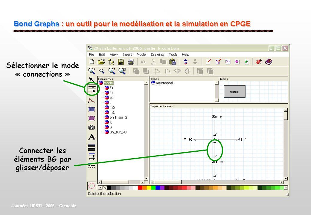 Bond Graphs : un outil pour la modélisation et la simulation en CPGE Journées UPSTI – 2006 – Grenoble Sélectionner le mode « connections » Connecter l