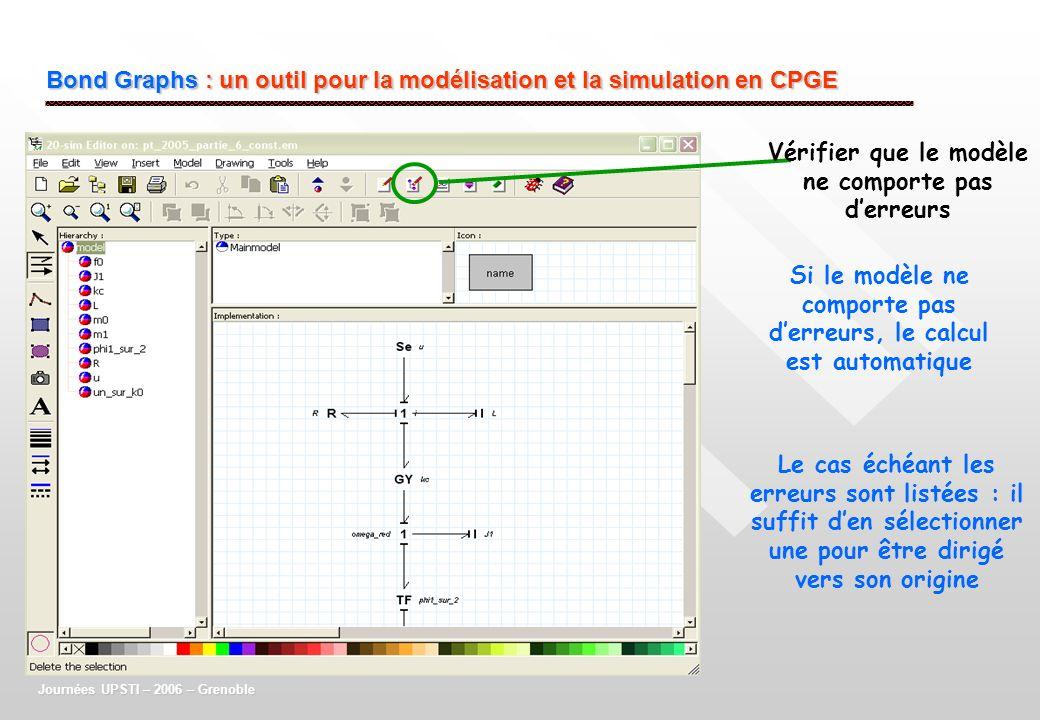 Bond Graphs : un outil pour la modélisation et la simulation en CPGE Journées UPSTI – 2006 – Grenoble Vérifier que le modèle ne comporte pas derreurs