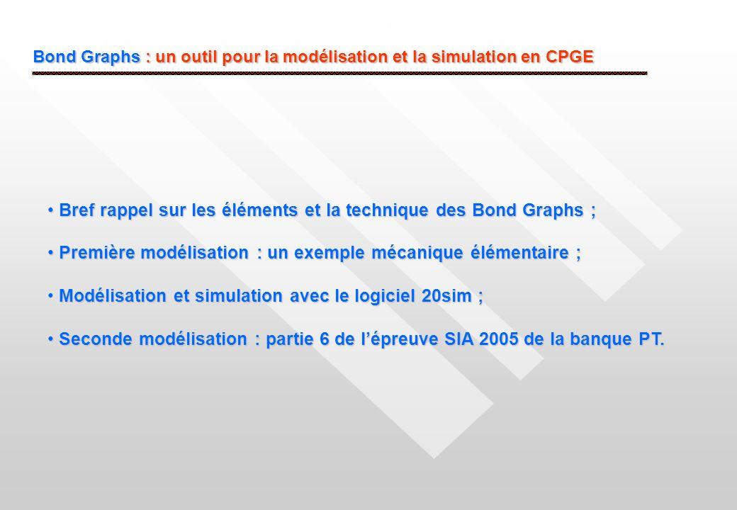 Bond Graphs : un outil pour la modélisation et la simulation en CPGE Bref rappel sur les éléments et la technique des Bond Graphs ; Bref rappel sur le