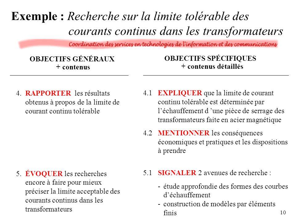4.RAPPORTER les résultats obtenus à propos de la limite de courant continu tolérable 5.ÉVOQUER les recherches encore à faire pour mieux préciser la limite acceptable des courants continus dans les transformateurs 4.1EXPLIQUER que la limite de courant continu tolérable est déterminée par léchauffement d une pièce de serrage des transformateurs faite en acier magnétique 4.2MENTIONNER les conséquences économiques et pratiques et les dispositions à prendre 5.1SIGNALER 2 avenues de recherche : -étude approfondie des formes des courbes déchauffement -construction de modèles par éléments finis OBJECTIFS GÉNÉRAUX + contenus OBJECTIFS SPÉCIFIQUES + contenus détaillés Exemple : Recherche sur la limite tolérable des courants continus dans les transformateurs 10