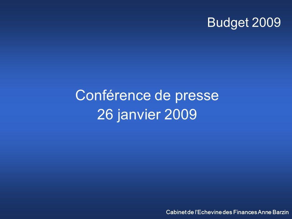 Budget 2009 Conférence de presse 26 janvier 2009 Cabinet de lEchevine des Finances Anne Barzin