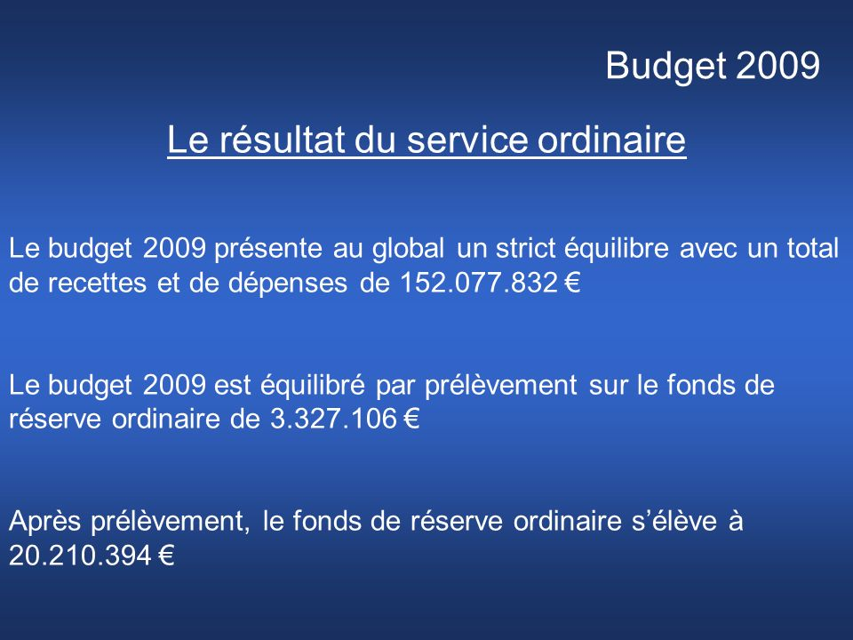 Budget 2009 Le résultat du service ordinaire Le budget 2009 présente au global un strict équilibre avec un total de recettes et de dépenses de 152.077.832 Le budget 2009 est équilibré par prélèvement sur le fonds de réserve ordinaire de 3.327.106 Après prélèvement, le fonds de réserve ordinaire sélève à 20.210.394